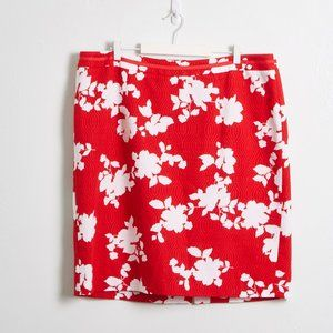 Talbots Women's Red & White Floral Pencil Skirt